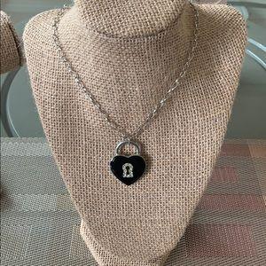 Girls Black Heart Necklace